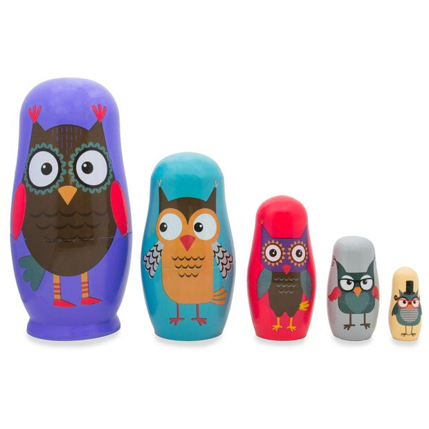 Set of 5 Wise Owls Family Wooden Nesting Dolls 5.75 Inches by BestPysanky