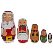 Santa Claus, Mrs. Claus, Reindeer, Elf Wooden Nesting Dolls 6 Inches by BestPysanky