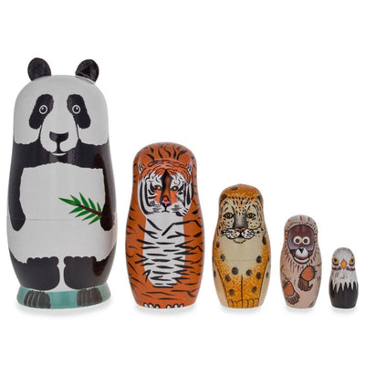 Endangered Animals Panda, Tiger, Leopard, Bold Eagle Wooden Nesting Dolls by BestPysanky