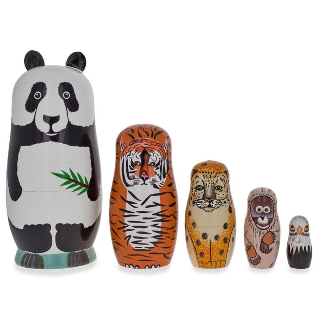 Panda, Tiger, Leopard, Monkey, Eagle Wooden Nesting Dolls by BestPysanky