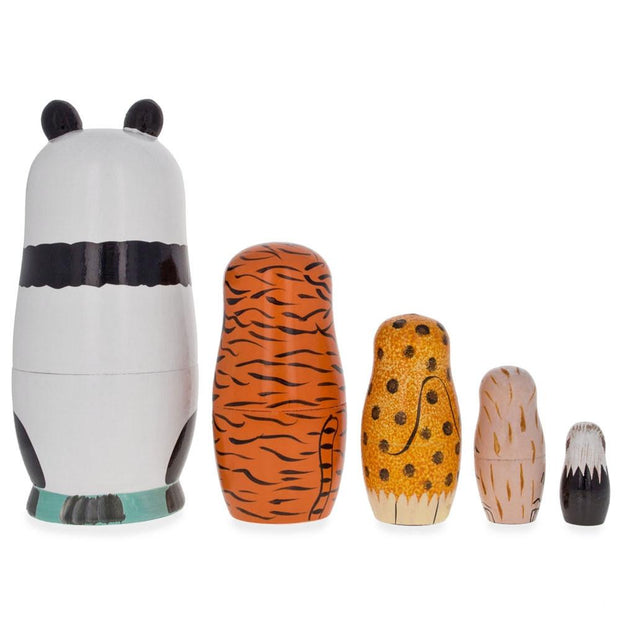 Buy Online Gift Shop Panda, Tiger, Leopard, Monkey, Eagle Wooden Nesting Dolls