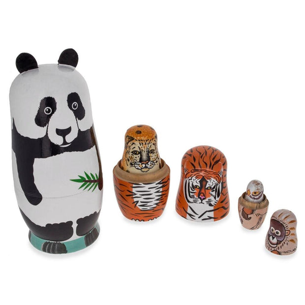 Endangered Animals Panda, Tiger, Leopard, Bold Eagle Wooden Nesting Dolls