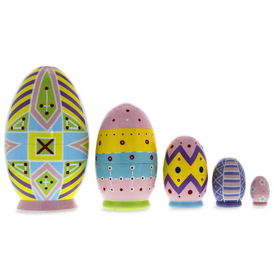 Set of 5 Ukrainian Easter Eggs Pysanky Wooden Nesting Dolls 5 Inches by BestPysanky