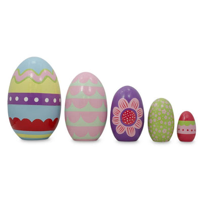 Set of 5 Colorful Easter Eggs Pysanky Wooden Nesting Dolls 5 Inches by BestPysanky