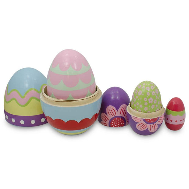 Buy Online Gift Shop Set of 5 Colorful Easter Eggs Pysanky Wooden Nesting Dolls 5 Inches