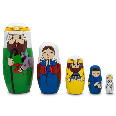 Joseph, Mary, and Jesus Nativity Scene Wooden Nesting Dolls 5.75 Inches by BestPysanky