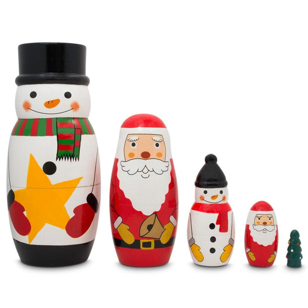 Santa Claus, Snowmen & Christmas Tree Wooden Nesting Dolls 5 Inches by BestPysanky