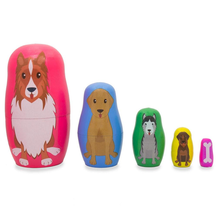 Dogs and Puppies with Bone Animal Wooden Russian Nesting Dolls 4.75 Inches by BestPysanky