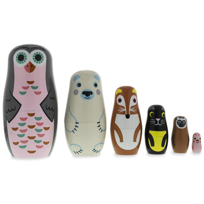 Set of 6 Animals Wooden Nesting Dolls- Owl, Bear, Fox, Cat, Monkey, Pig by BestPysanky