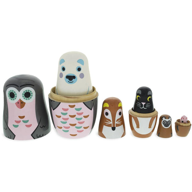 Set of 6 Animals Wooden Nesting Dolls- Owl, Bear, Fox, Cat, Monkey, Pig