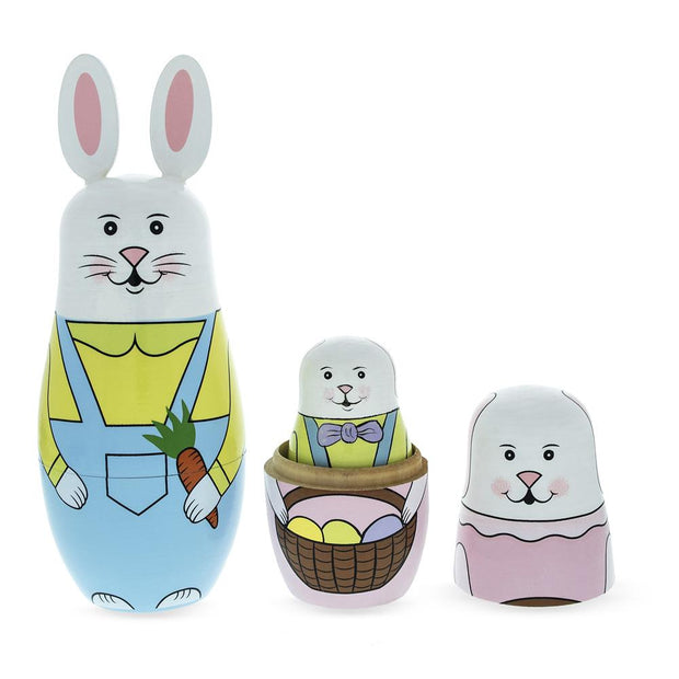 Set of 5 Bunny Family & Carrot Wooden Nesting Dolls 7 Inches Tall