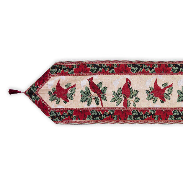 Buy Online Gift Shop Cardinal, Mistletoe Poinsettia Christmas Tablecloth Holiday Runner 77 Inches