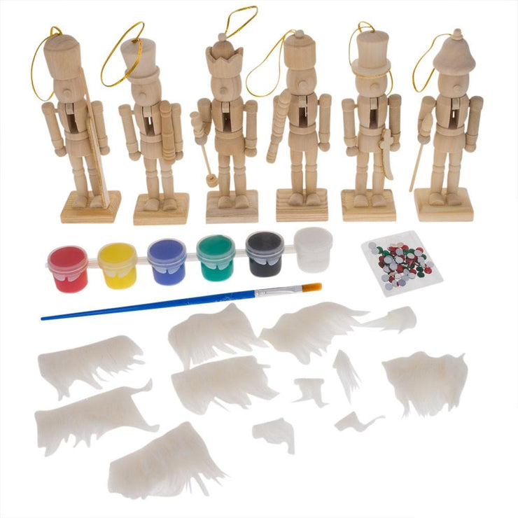 Set of 6 Unfinished Wooden Nutcrackers DIY Craft Kit 5 Inches by BestPysanky