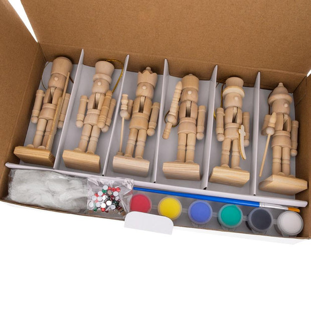 6 Unfinished Wooden Nutcracker Figurines DIY Craft Kit 5 Inches