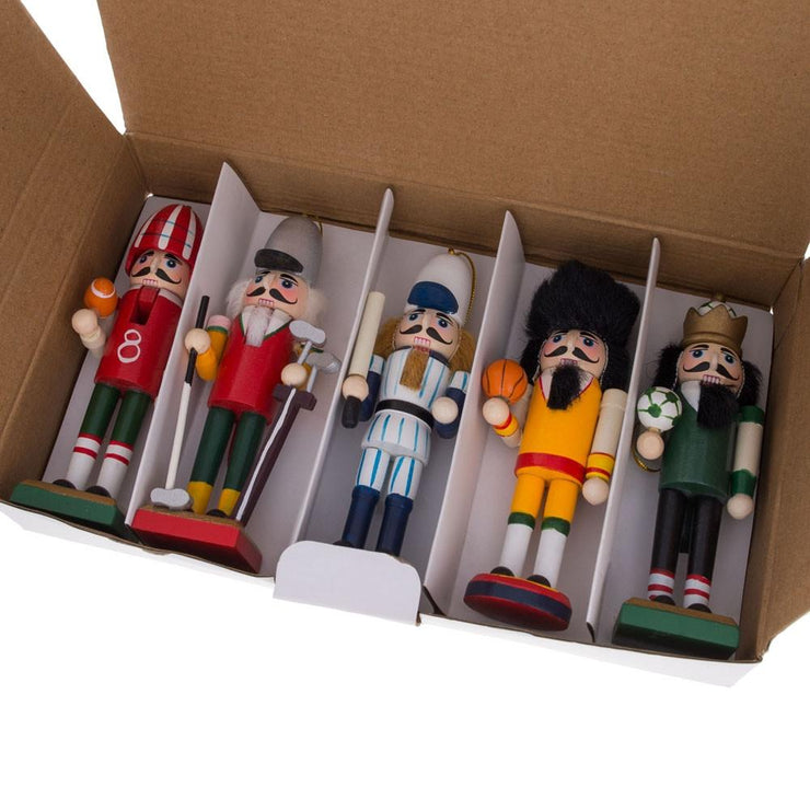 5 Sport Players Nutcrackers: Football, Golfer, Baseball, Basketball, Soccer