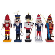 5 Nutcrackers: Firefighter, Policeman, Hockey, Skier, Snowboarder 5 Inches by BestPysanky