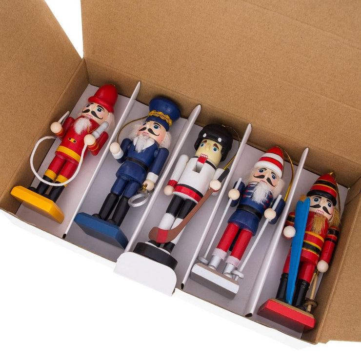 5 Nutcrackers: Firefighter, Policeman, Hockey, Skier, Snowboarder 5 Inches