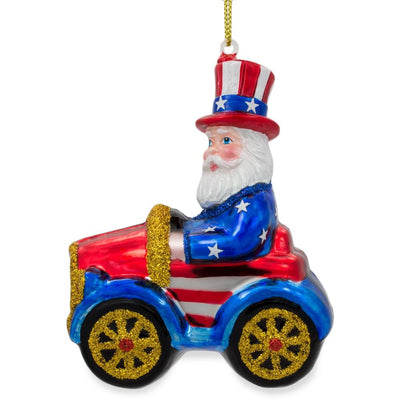 USA Uncle Sam Santa in a Car Glass Christmas Ornament by BestPysanky