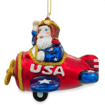 Pilot Santa on Airplane Glass Christmas Ornament by BestPysanky