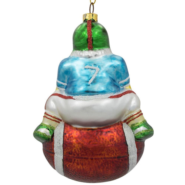 Santa Claus Football Player Sports Ball Glass Christmas Ornament 5 Inches