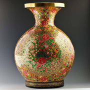 "BestPysanky Christmas Decor > Tableware > Vases - 12"" Oriental Flowers Hand Painted Wooden Vase"