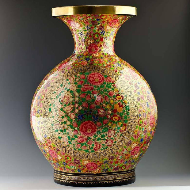 Oriental Flowers Hand Painted Wooden Vase 12 Inches by BestPysanky