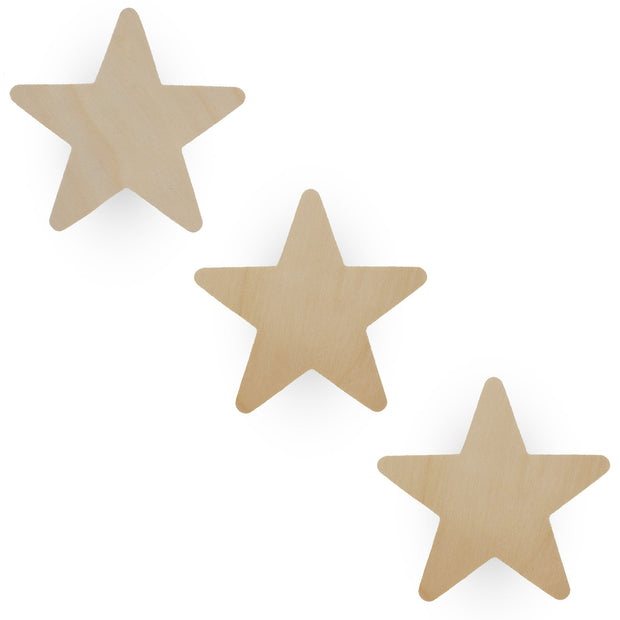 3 Stars Unfinished Wooden Shapes Craft Cutouts DIY Unpainted 3D Plaque 3.9 Inches by BestPysanky