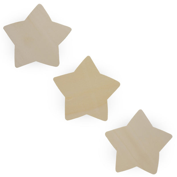 3 Stars Unfinished Wooden Shapes Craft Cutouts DIY Unpainted 3D Plaques 4.8 Inches by BestPysanky