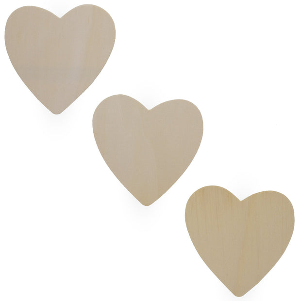3 Hearts Unfinished Wooden Shapes Craft Cutouts DIY Unpainted 3D Plaques 4.6 Inches by BestPysanky