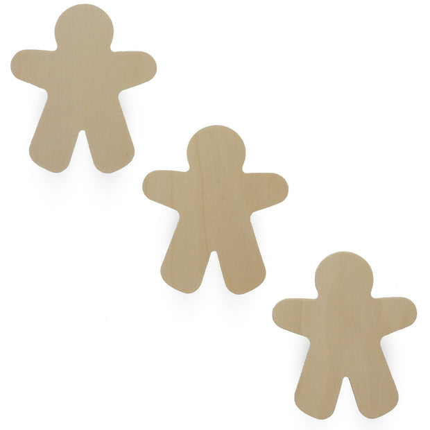 3 Gingerbread Boys Men Unfinished Wooden Shapes Craft Cutouts DIY Unpainted 3D Plaques 4 Inches by BestPysanky