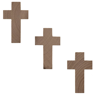 Set of 3 Unfinished Wood Crosses Cutout 2.7 Inches by BestPysanky