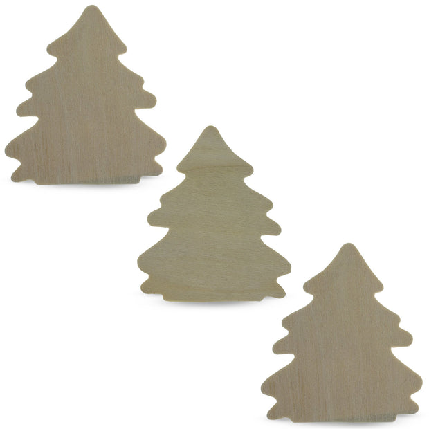 Set of 3 Unfinished Wood Christmas Trees Cutout 4.1 Inches by BestPysanky