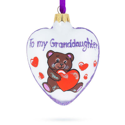 Teddy For My Granddaughter Glass Heart Christmas Ornament by BestPysanky