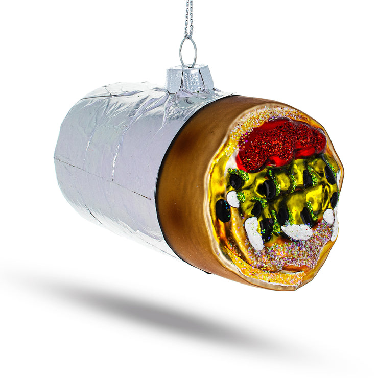Burrito Wrapped in Foil Glass Christmas Ornament by BestPysanky