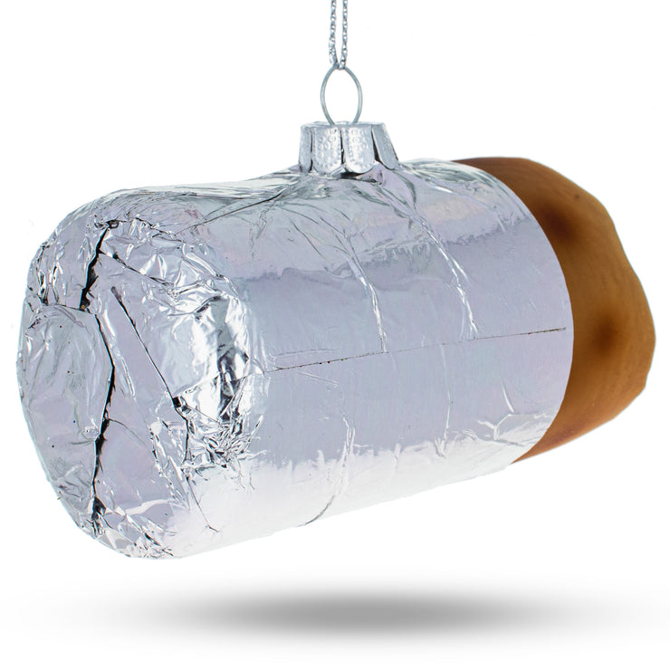 Buy Online Gift Shop Burrito Wrapped in Foil Glass Christmas Ornament