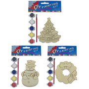 Set of 3 Unfinished Wooden Christmas Ornaments Cutouts DIY Craft Kits by BestPysanky