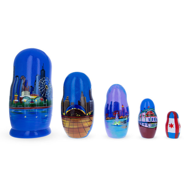 5 Pieces Chicago, Illinois Wooden Nesting Dolls by BestPysanky