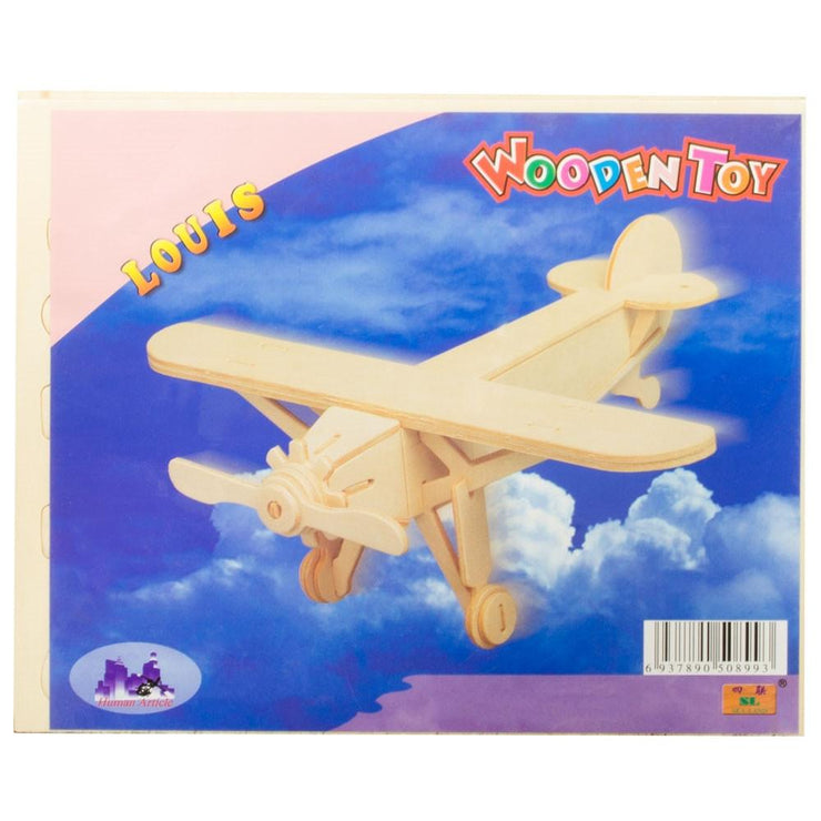 High Wing Propeller Airplane Model Kit Wooden 3D Puzzle