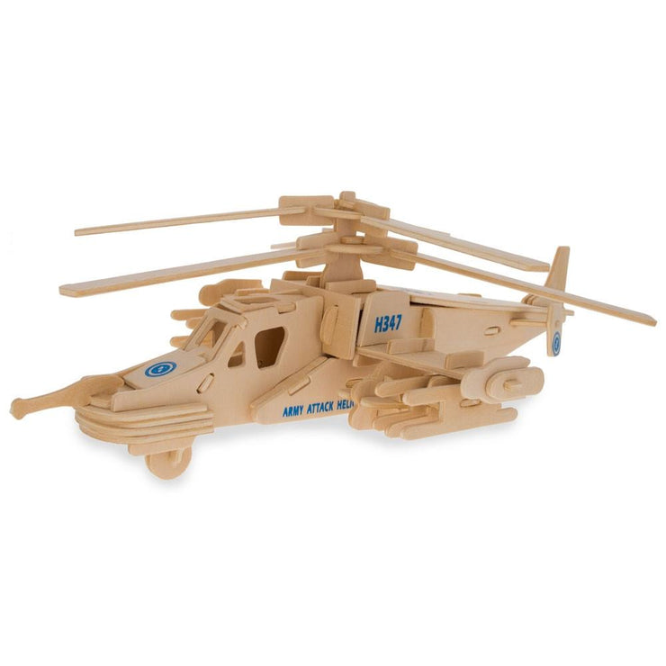 Battle Fighter Helicopter Model Kit Wooden 3D Puzzle by BestPysanky