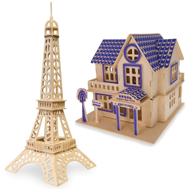 Set of 2 Eiffel Tower and House Model Kit Wooden 3D Puzzles by BestPysanky