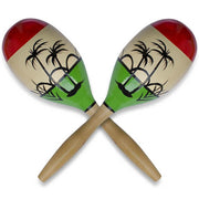Set of 2 Large Crisp Rattle Wooden Mexican Maracas 11 Inches by BestPysanky
