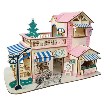 Coffee Shop Building Model Kit - Wooden Laser-Cut 3D Puzzle (161 Pcs) by BestPysanky