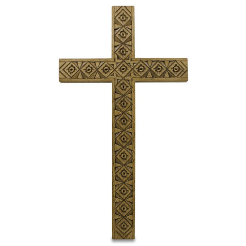 "8.5"" Carved Wooden Ukrainian Wall Cross 