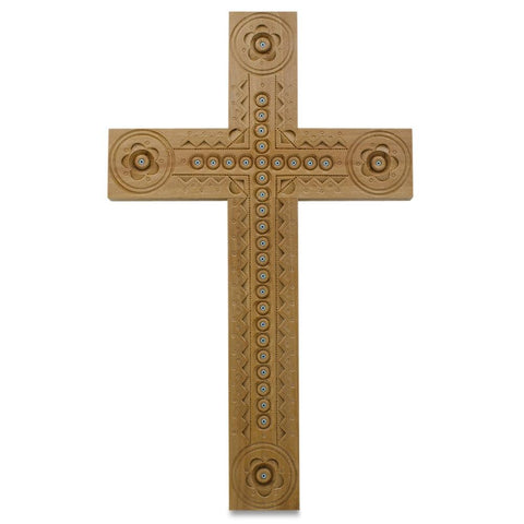 "8.75"" Carved Wooden Ukrainian Religious Cross with Beads 