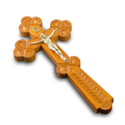 Hand Carved Wooden Wall Cross 9 Inches by BestPysanky