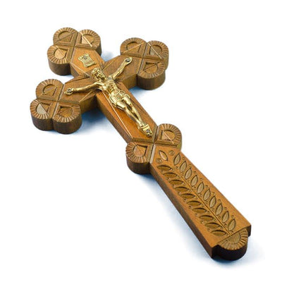 Carved Ukrainian Wooden Wall Crucifix 9 Inches by BestPysanky