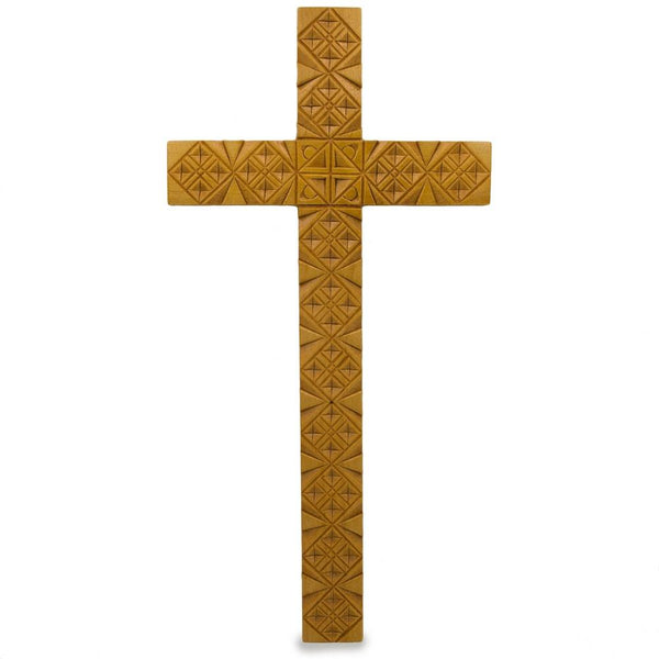 "8"" Hand Carved Natural Color Ukrainian Wooden Wall Cross 