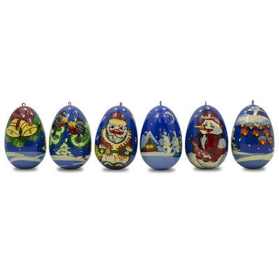 6 Santa with Snowman and Birds Wooden Russian Christmas Ornaments 2.25 Inches by BestPysanky
