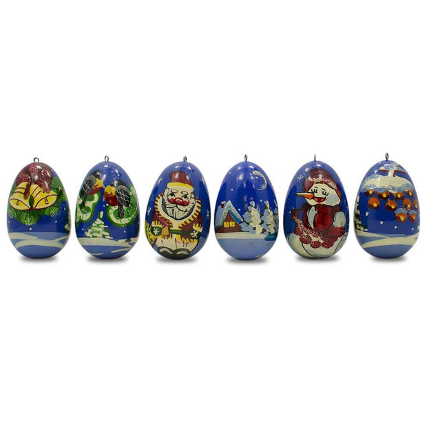 "BestPysanky Christmas Ornaments > Santa - 2.25"" Set of 6 Santa Claus with Snowman and Birds Wooden Russian Christmas Ornaments"