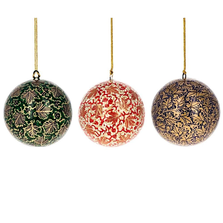 Set of 3 Golden Leaves Wooden Christmas Ball Ornaments 3 Inches by BestPysanky